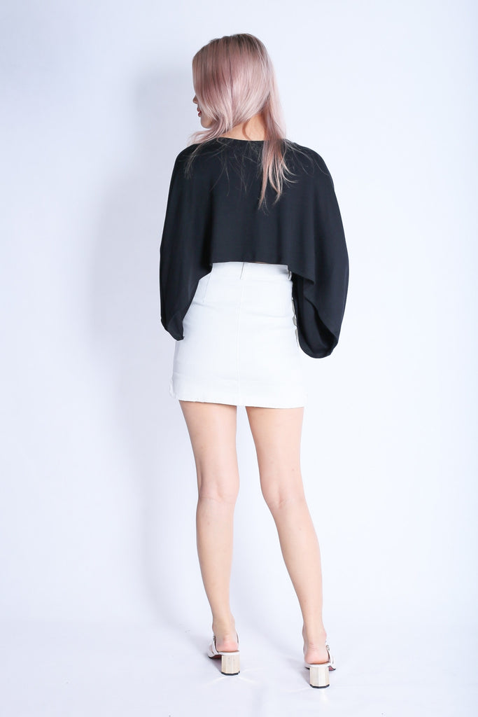 RING UP FITTED DENIM SKORTS IN WHITE - TOPAZETTE