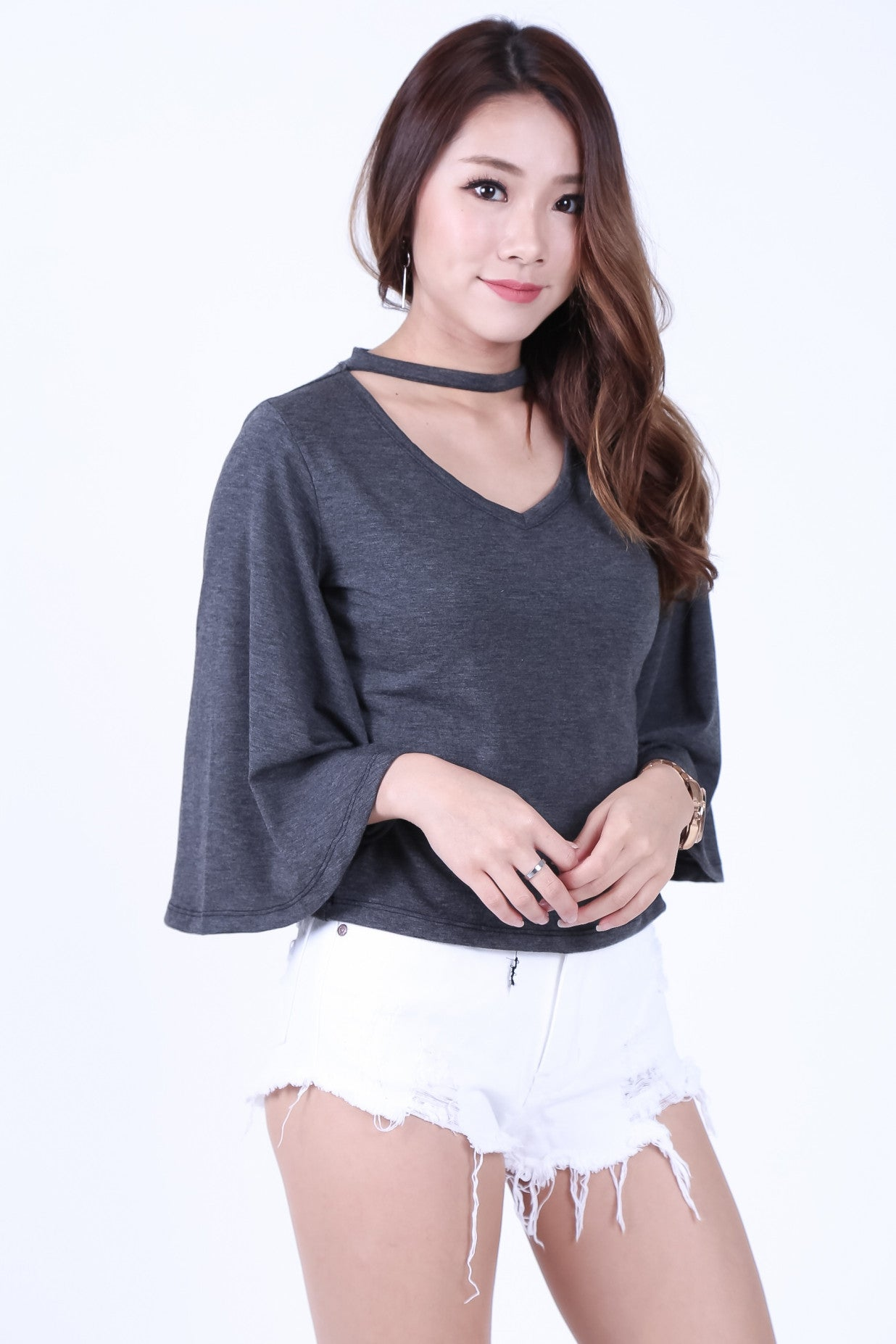CHOKER BELL SLEEVES TOP IN DARK GREY - TOPAZETTE