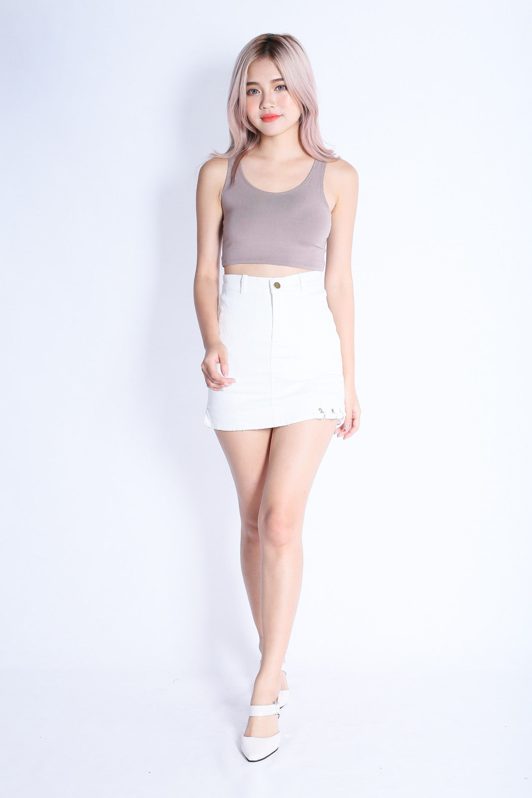*RESTOCKED* SUPER CROP BASIC TOP IN TAUPE