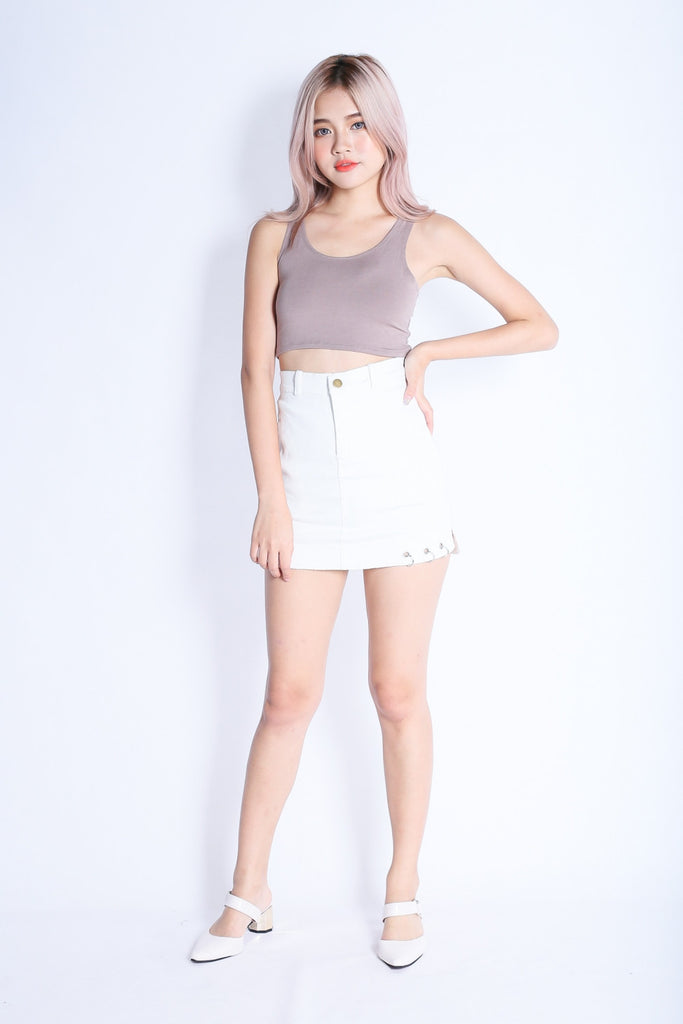 *RESTOCKED* SUPER CROP BASIC TOP IN TAUPE - TOPAZETTE