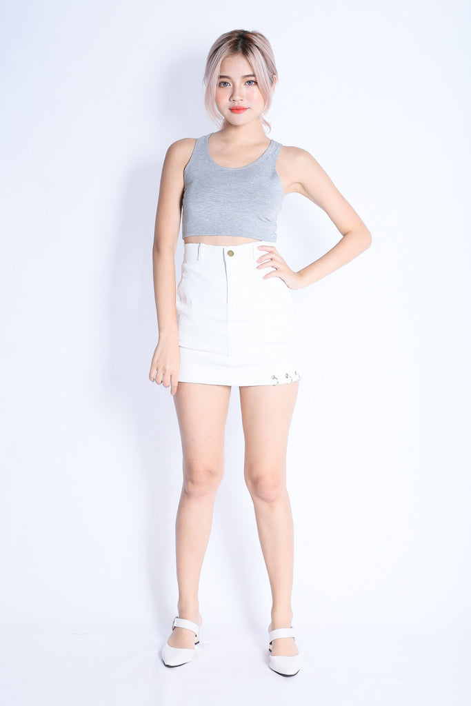 *RESTOCKED* SUPER CROP BASIC TOP IN LIGHT GREY