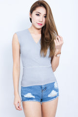*RESTOCKED* WRAP UP KNIT TOP IN GREY