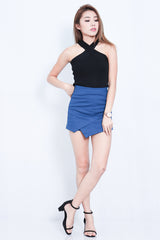 (RESTOCKED) CROSS WRAP KNIT TOP IN BLACK