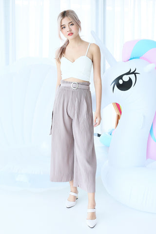 OFF DUTY PLEATED CULOTTES IN TAUPE