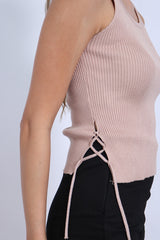 (RESTOCKED 2) SIDE LACED UP KNIT TOP IN KHAKI - TOPAZETTE