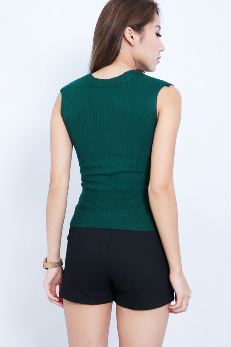 *RESTOCKED* WRAP UP KNIT TOP IN FOREST