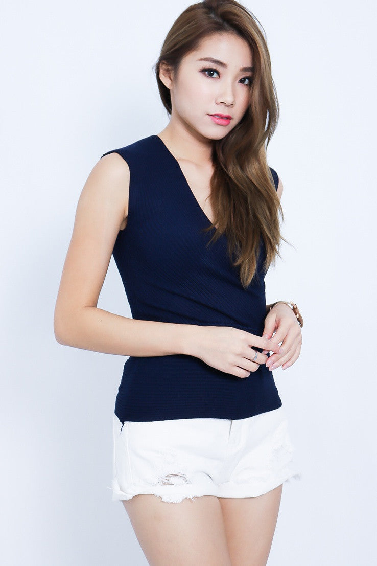 (RESTOCKED) WRAP UP KNIT TOP IN NAVY - TOPAZETTE