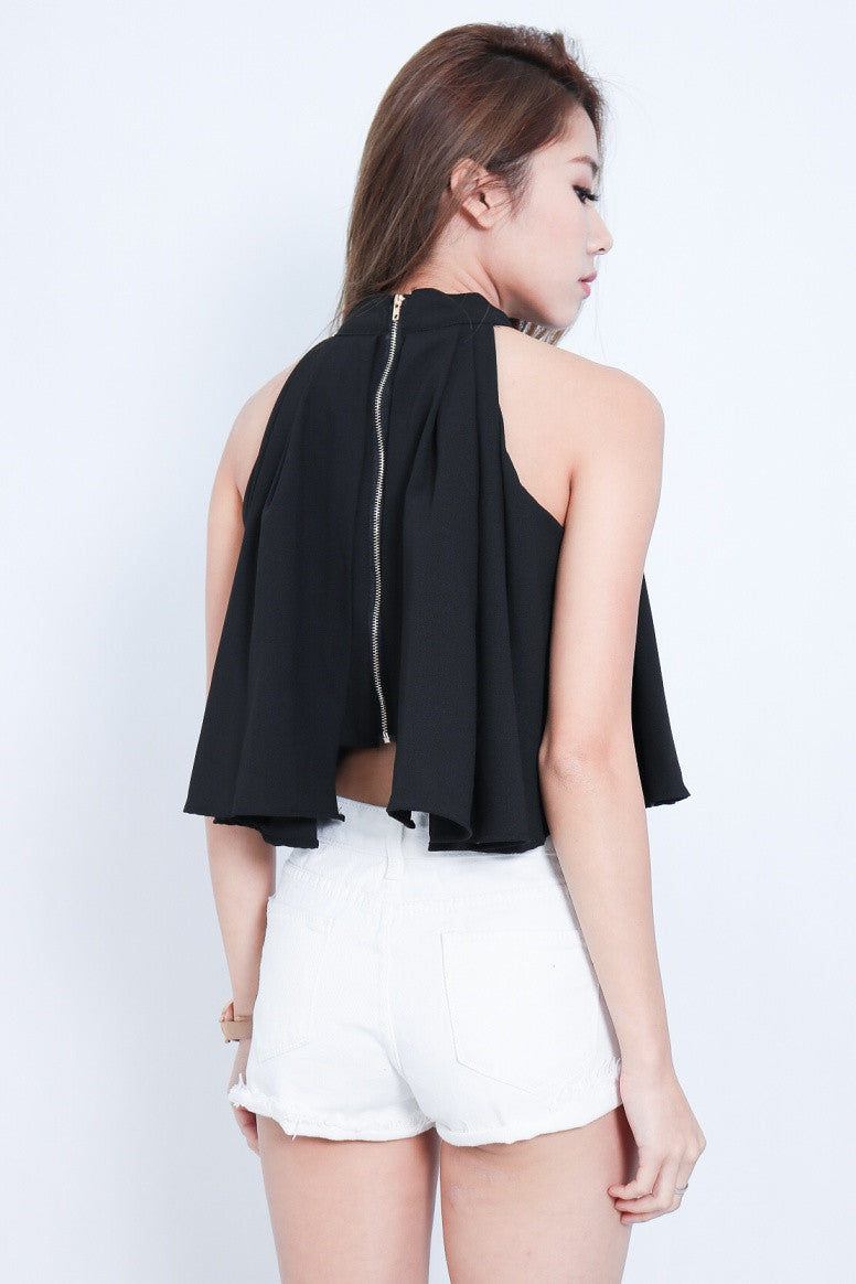 (PREMIUM) HALTER CHIFFON TOP IN BLACK - TOPAZETTE