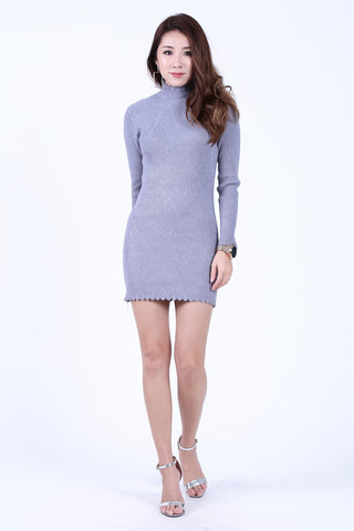 101eafea7c1 COURTNEY SCALLOP KNIT DRESS IN GREY