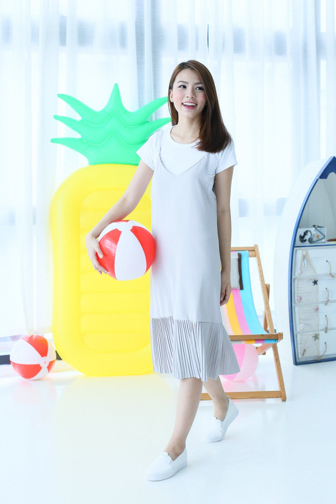 SEOUL DROP HEM PLEATED DRESS SET IN GREY