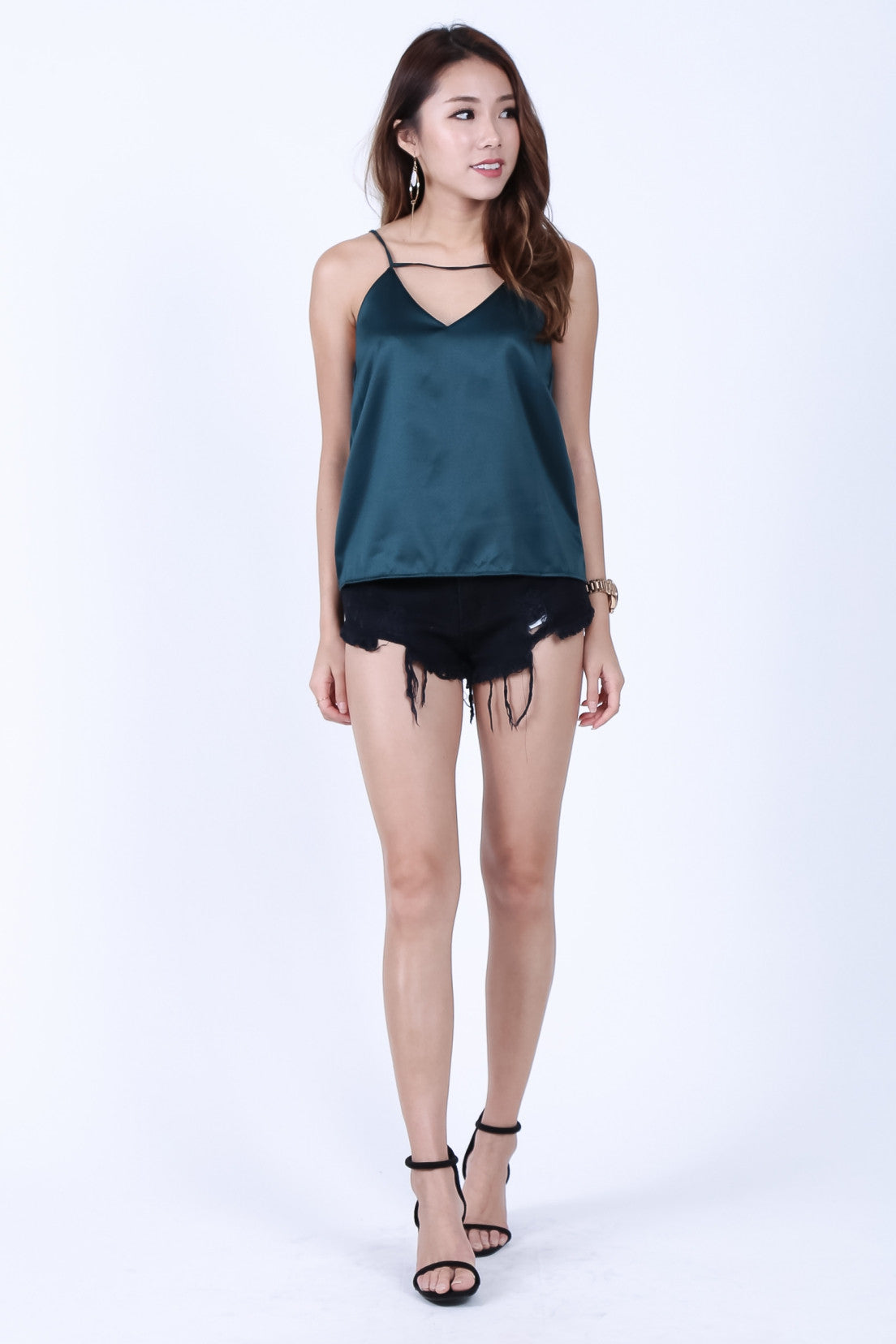 *RESTOCKED* LEXI SPAG TOP IN FOREST - TOPAZETTE