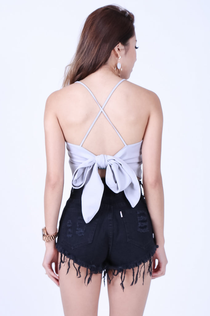 (RESTOCKED) CROSS TIE BACK CROP TOP IN GREY - TOPAZETTE