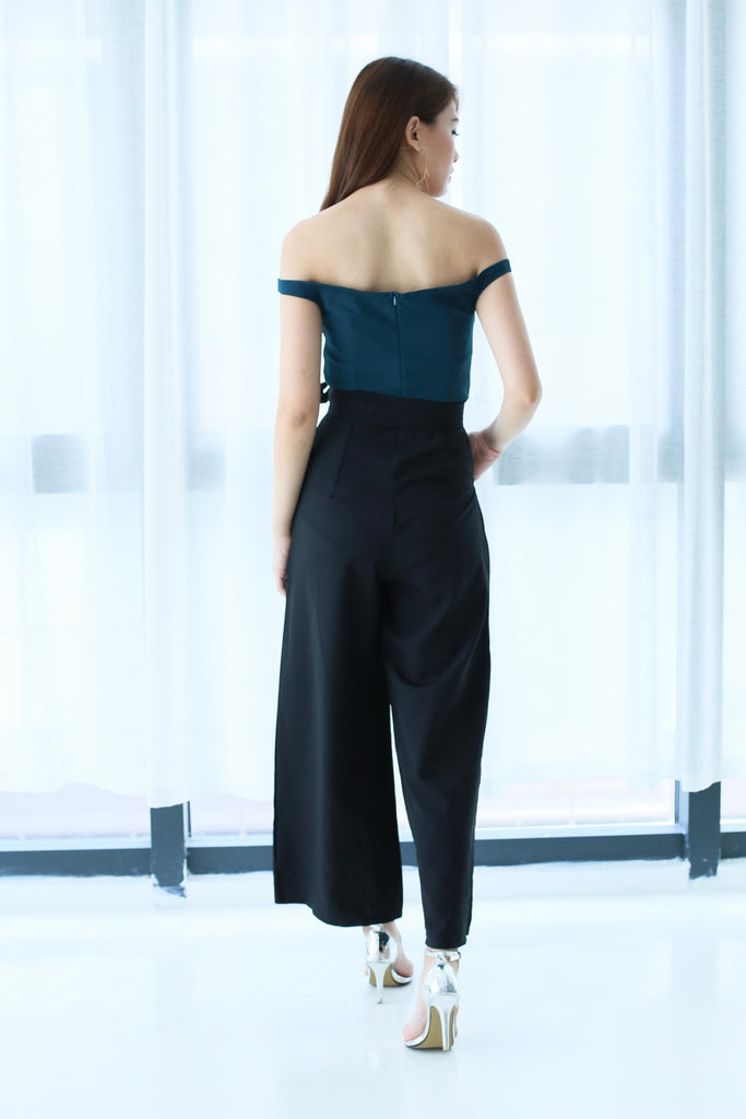 TOPAZ *PREMIUM* COLOURBLOCK CULOTTES JUMPSUIT IN TEAL - TOPAZETTE