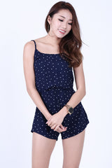 POLKA DOT SUMMER ROMPER IN NAVY