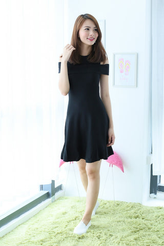 e8a05e66026 COLD SHOULDER SKATER KNIT DRESS IN BLACK - TOPAZETTE