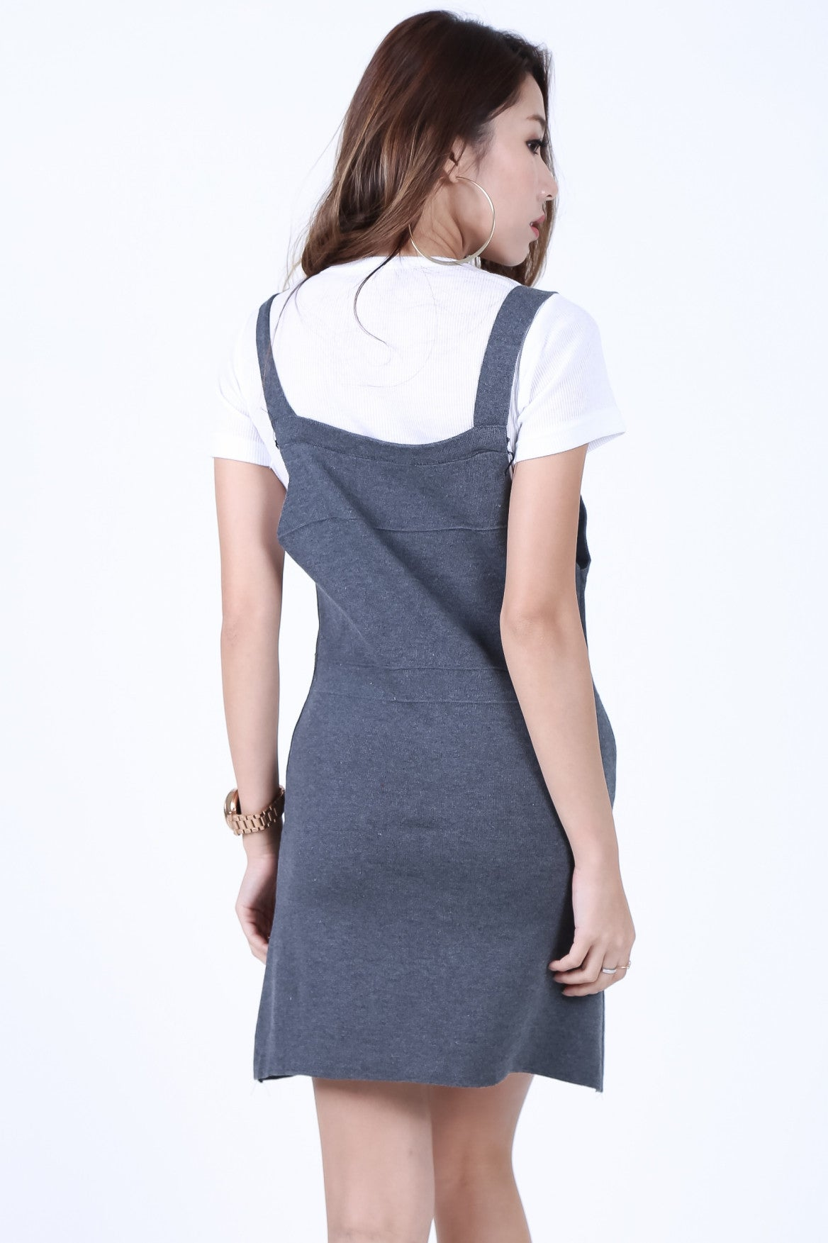 ROWS OF BUTTONS DUNGAREE DRESS IN GREY