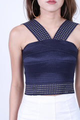 STUDDED BANDAGE BODYCON TOP IN NAVY