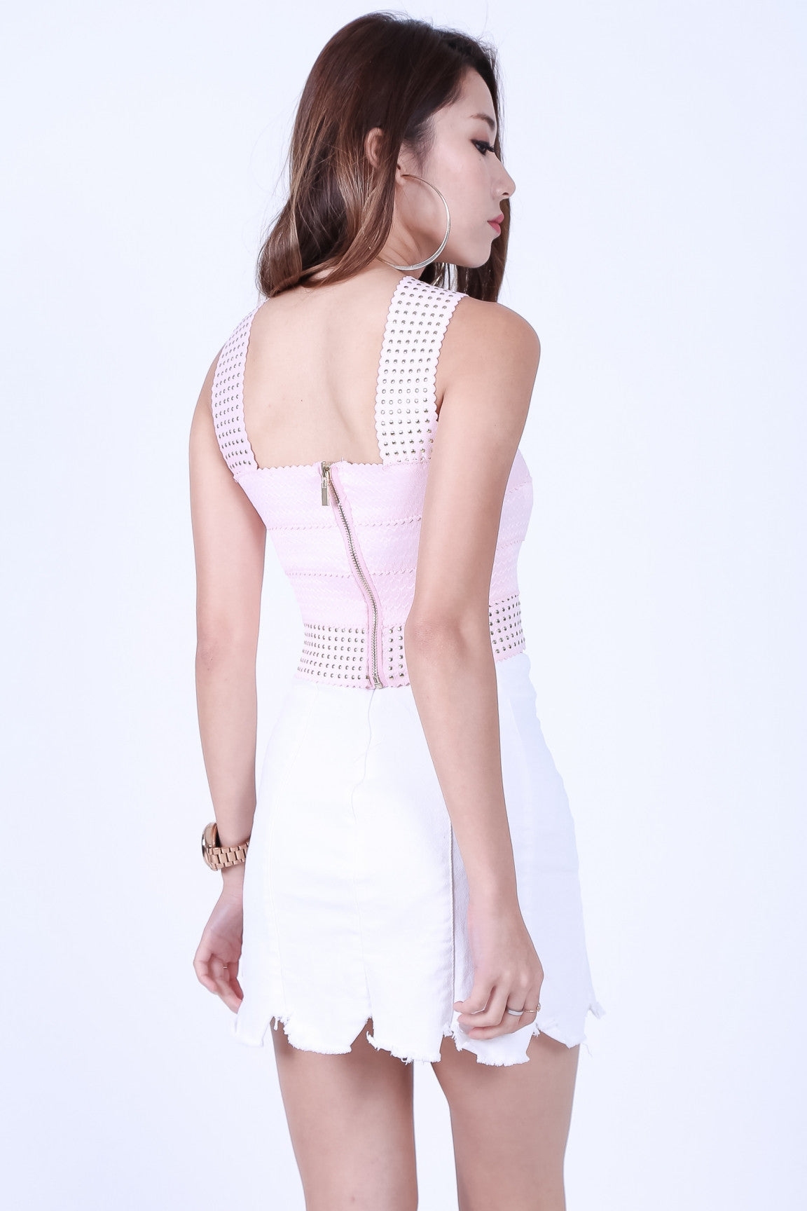 STUDDED BANDAGE BODYCON TOP IN BABY PINK