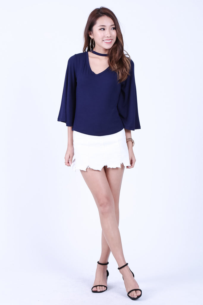 *BACKORDER* CHOKER BELL SLEEVES TOP IN NAVY - TOPAZETTE