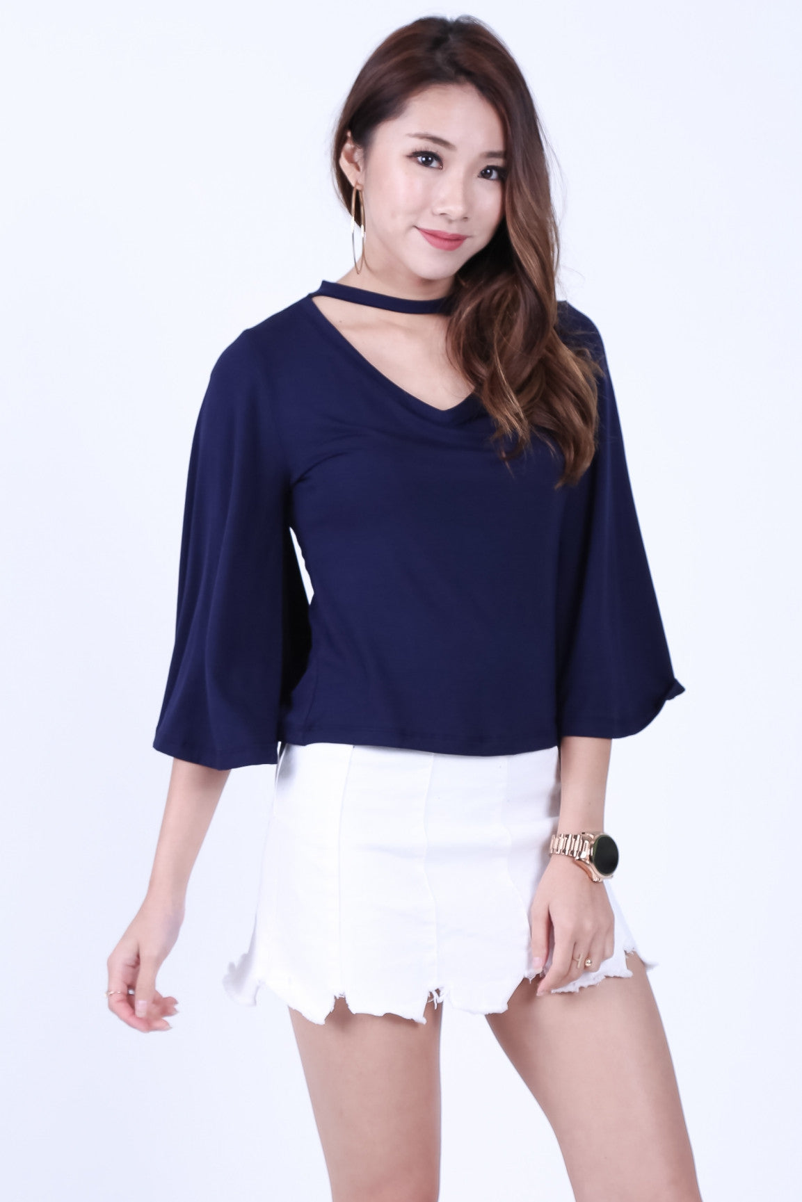 *RESTOCKED* CHOKER BELL SLEEVES TOP IN NAVY - TOPAZETTE