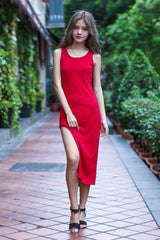 GOT IT FLAUNT IT KNIT DRESS IN WINE - TOPAZETTE