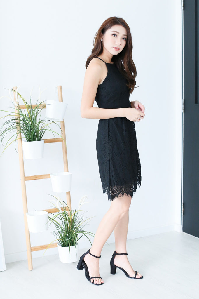 TOPAZ *PREMIUM* ZARA LACE DRESS IN BLACK