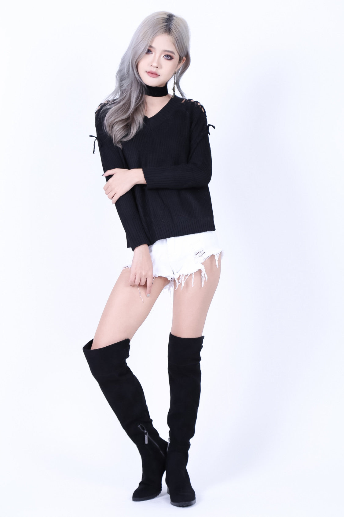 CABLE KNIT LACED TOP IN BLACK - TOPAZETTE