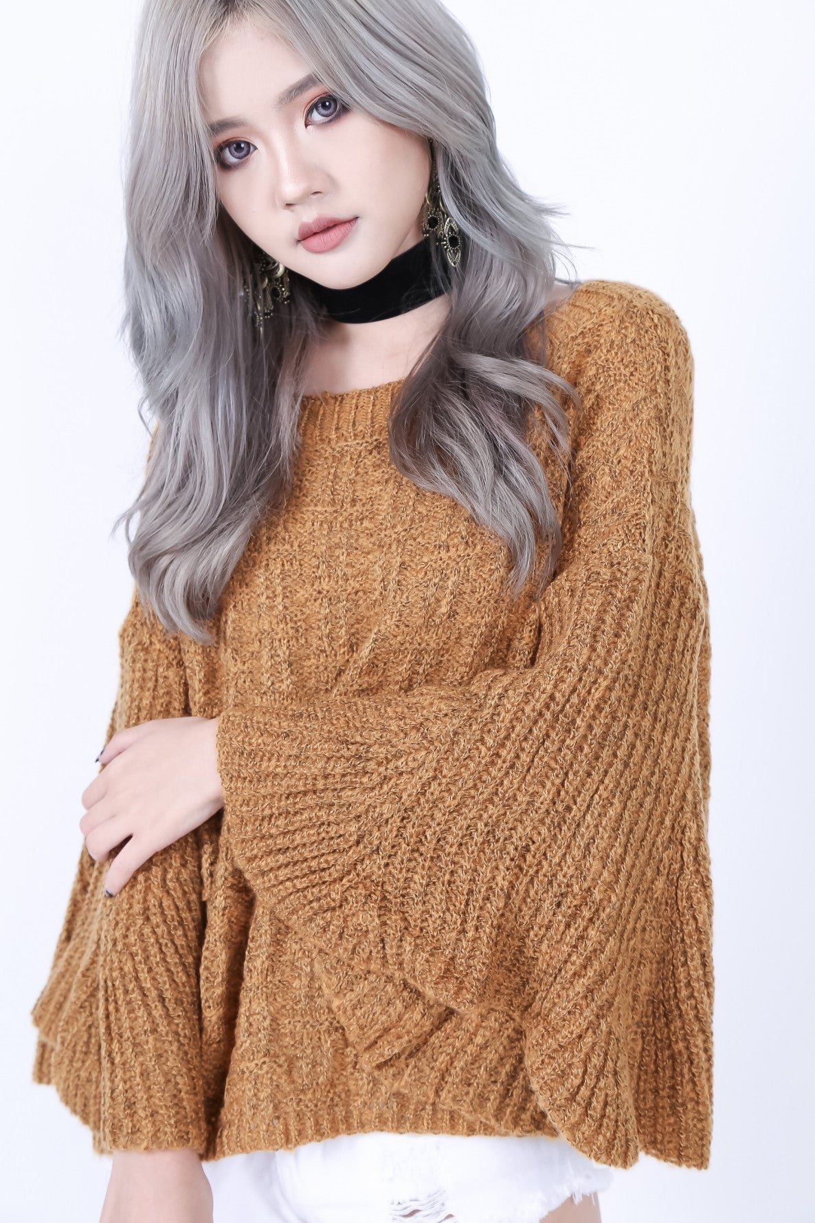 BELL SLEEVES KNIT TOP IN CAMEL - TOPAZETTE