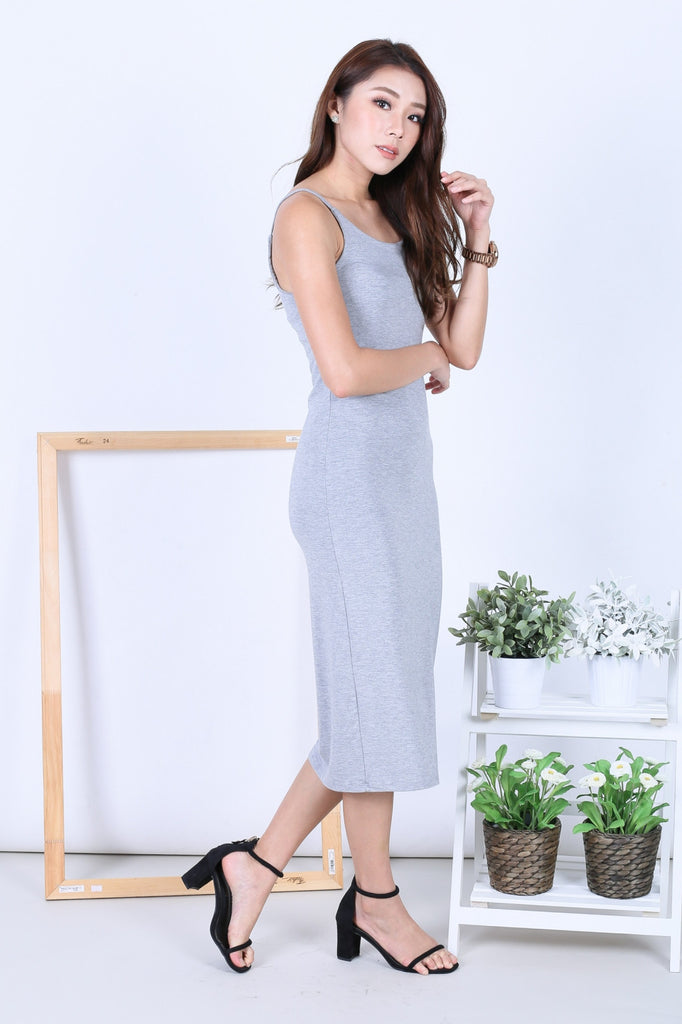 FEL BASIC SPAG MIDI IN LIGHT GREY - TOPAZETTE