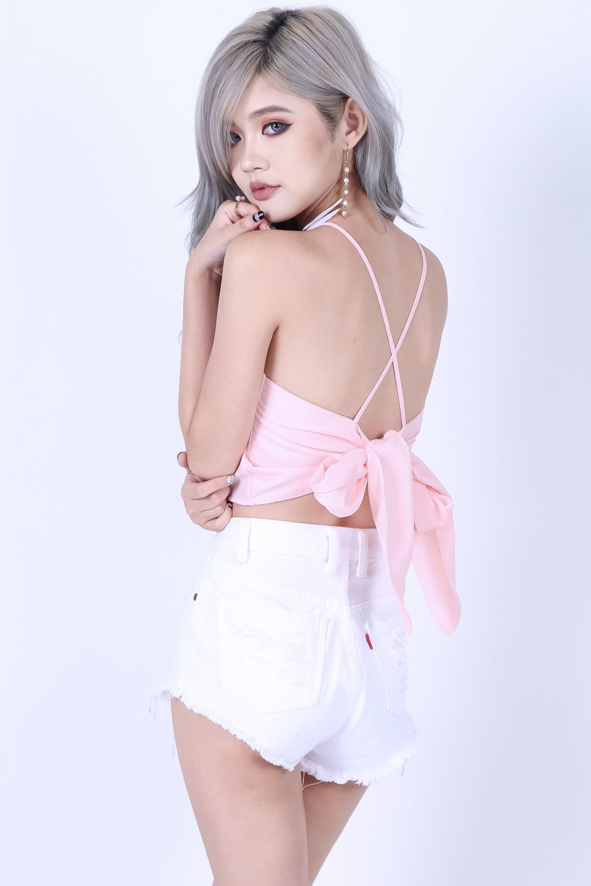 (RESTOCKED) CROSS TIE BACK CROP TOP IN BABY PINK - TOPAZETTE