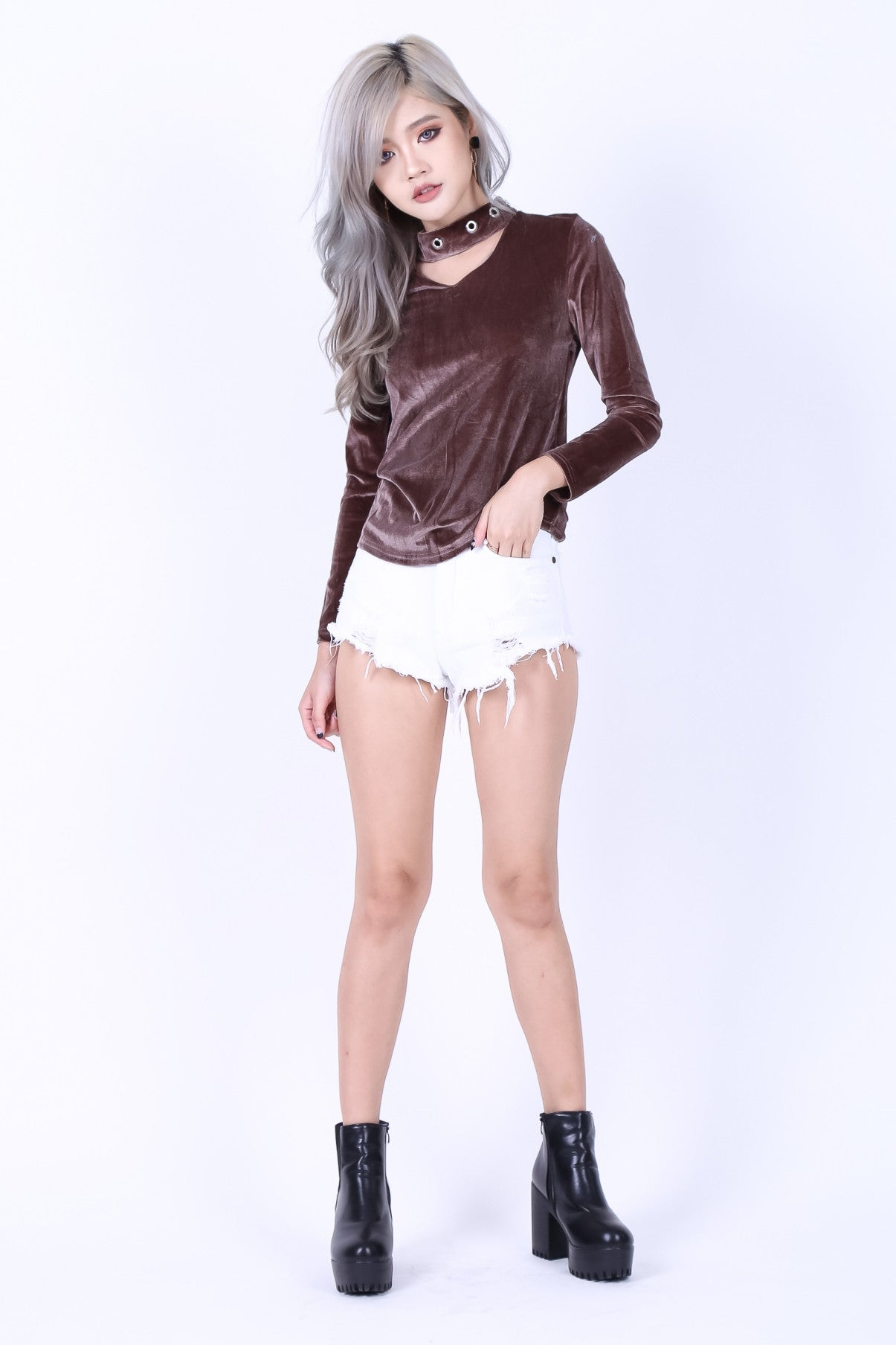 CHOKER RING VELVET TOP IN RUSTY ROSE - TOPAZETTE