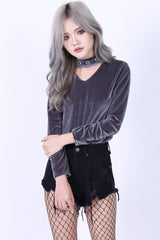 CHOKER RING VELVET TOP IN GREY - TOPAZETTE