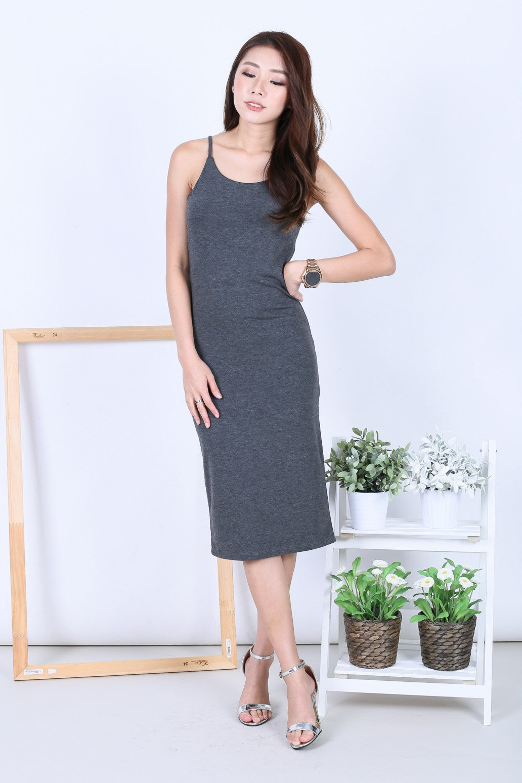 FEL BASIC SPAG MIDI IN DARK GREY - TOPAZETTE