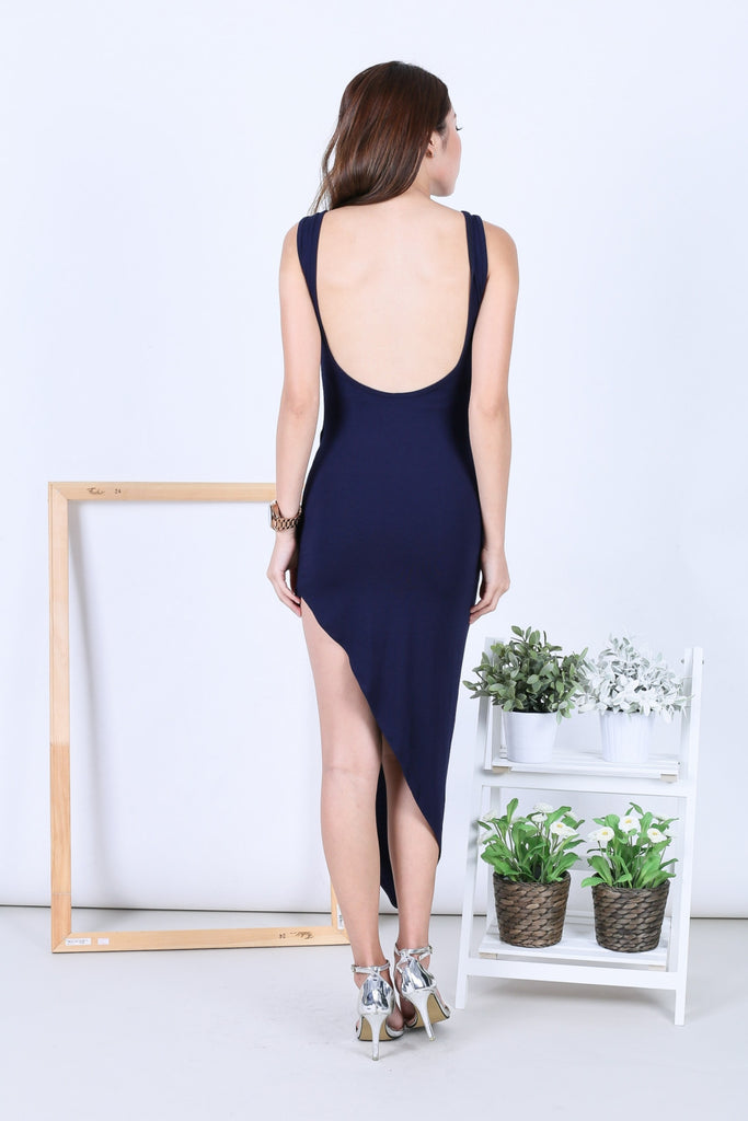 *BACKORDER* WYN DRAPE LOW BACK DRESS IN NAVY - TOPAZETTE