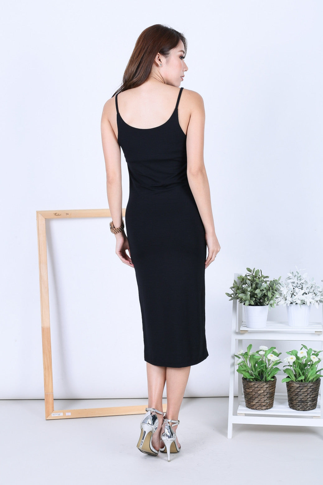 FEL BASIC SPAG MIDI IN BLACK - TOPAZETTE
