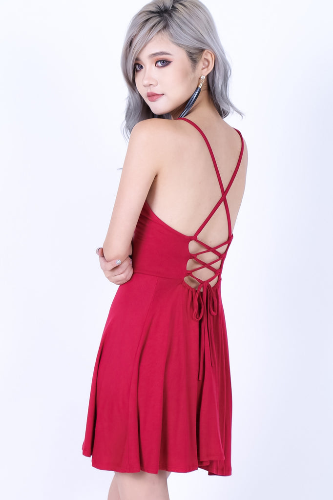 *RESTOCKED* LACED CROSS BACK DRESS IN WINE