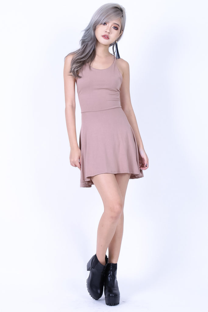 *RESTOCKED* LACED CROSS BACK DRESS IN TAUPE - TOPAZETTE
