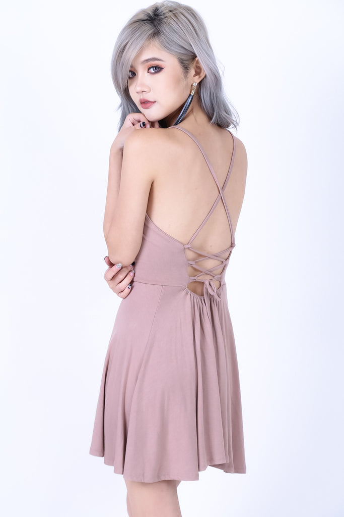 *BACKORDER* LACED CROSS BACK DRESS IN TAUPE - TOPAZETTE