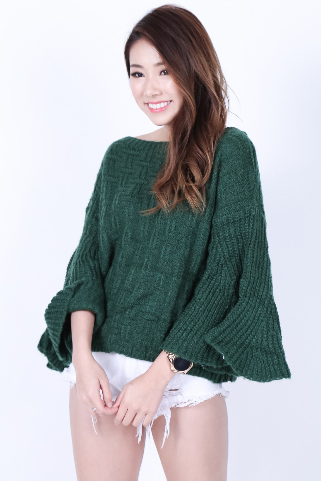 BELL SLEEVES KNIT TOP IN FOREST - TOPAZETTE