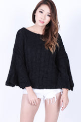 BELL SLEEVES KNIT TOP IN BLACK - TOPAZETTE