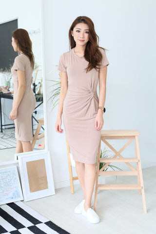 *BACKORDER* SLEEVED TWIST MIDI DRESS IN TAUPE - TOPAZETTE
