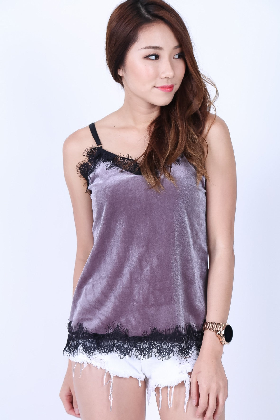 LACE TRIMS VELVET TOP IN LILAC