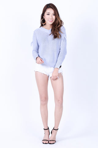 CABLE KNIT LACED TOP IN PERIWINKLE