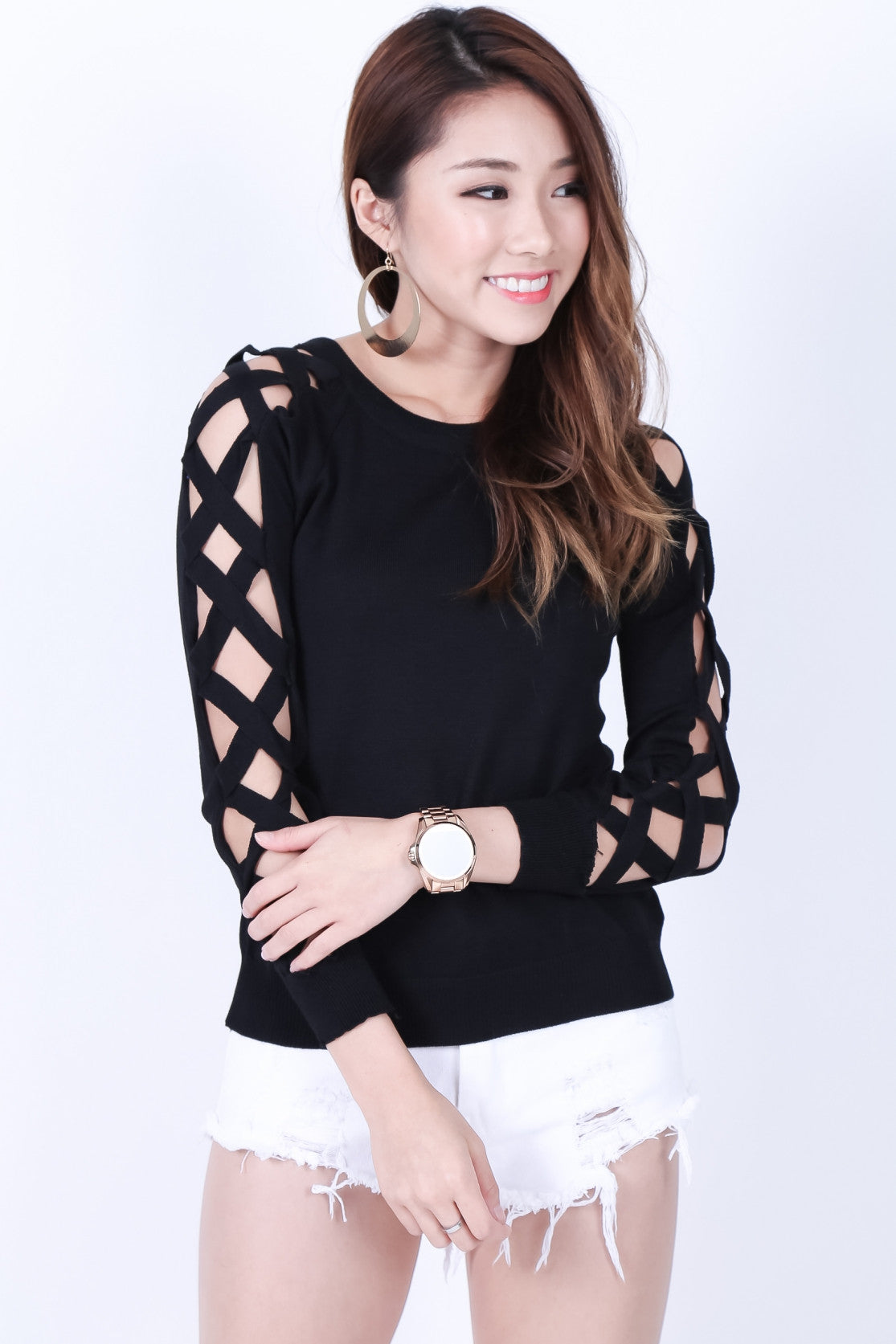 ALL LACED UP KNIT TOP IN BLACK - TOPAZETTE