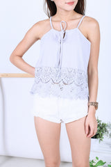 *RESTOCKED* LIZ CROCHET TOP IN GREY - TOPAZETTE