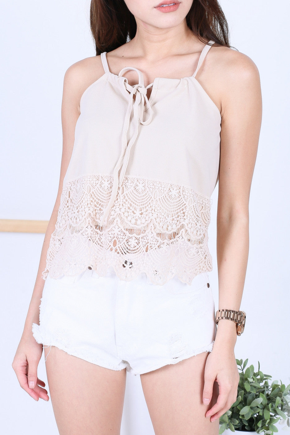 LIZ CROCHET TOP IN NUDE