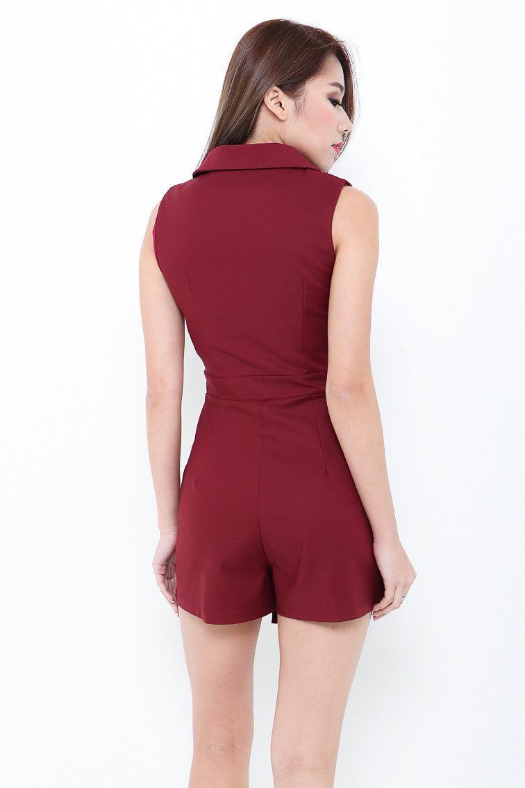 RESTOCKED 3 - (PREMIUM) SMART TRENCH ROMPER IN BURGUNDY
