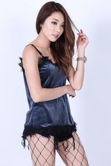 LACE TRIMS VELVET TOP IN GREYISH BLUE