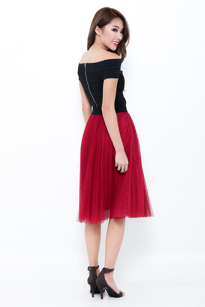 (PREMIUM) ONE LAST DANCE TULLE SKIRT IN BURGUNDY - TOPAZETTE