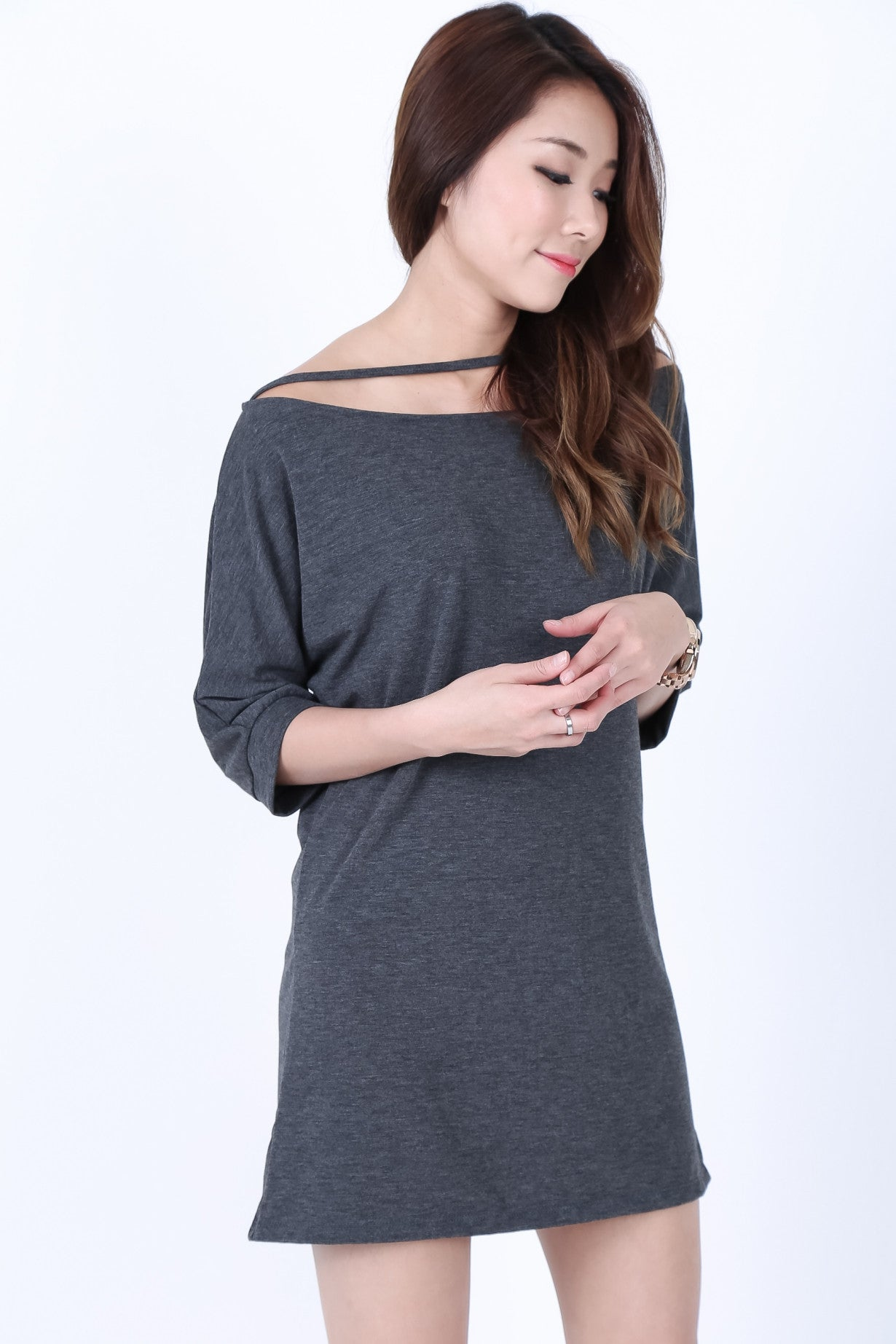 *RESTOCKED* PULL THE STRING DRESS IN DARK GREY - TOPAZETTE